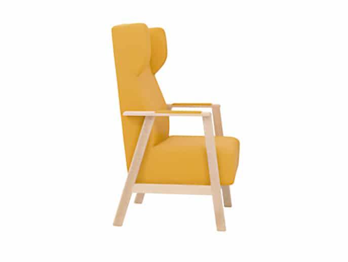 Sillón geriátrico modelo UNNA reclinable con orejero para residencias de mayores